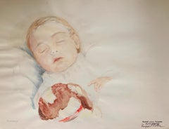 Rosemary - watercolor, portrait, infant, realism, Vienna, mid 20th century