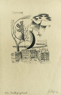Mondgespenst (Moon Ghost) - ink/paper, surrealism, cityscape, drawing, modern