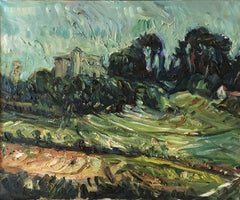 Schloss in der Provence (Castle in Provence) - landscape, green/blue, dynamic