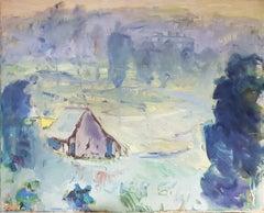 Morgentau (Morning dew) - oil/canvas, landscape, forest, blue, contemporary