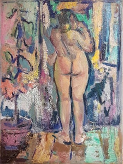 Akt (Nude) - Oil/canvas, colorful, female nude, interior, contemporary, outlines