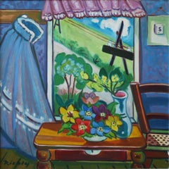 Blick aus dem Fenster (View from the window) - Expressionist, Naive Art, Flowers