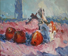 Still-life painting with three red apples