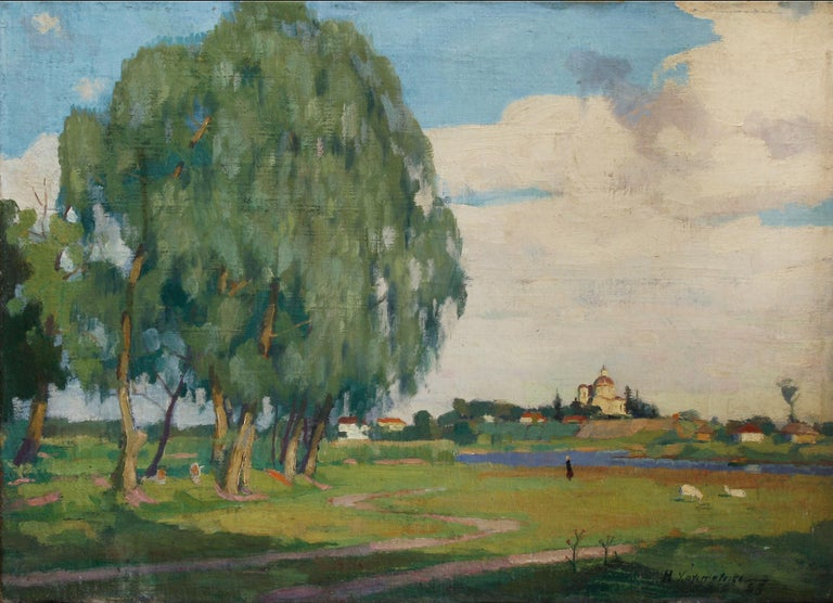Summer landscape - Painting, Oil, Canvas, Russian, Impressionist