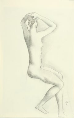 Twisted sitting nude - Drawing, Pencil, Female Nude, New Objectivity