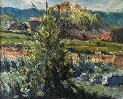 Lacoste IV - oil/canvas, landscape, France, dynamic, pasty, contemporary