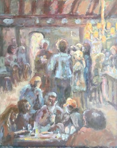 The Bar Interior Impressionist Oil Painting