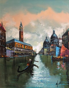 Venice Grand Canal, Impressionist Landscape, Oil Painting, Signed