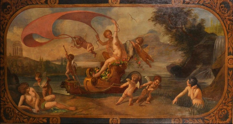 Follower of Francois Boucher (1703-1770) Figurative Painting - Amphitrite & The Cherubs - Enormous 18th Century Italian Classical Oil Painting