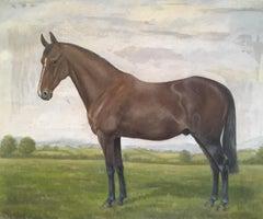Equestrian Portrait, Dark Mahogany Horse Still Life, Signed Oil Painting