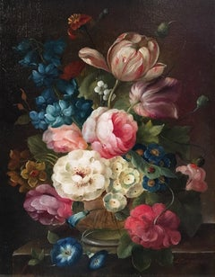 Multi Coloured Floral Bouquet, Still life Signed Oil Painting
