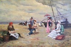 Elegant French Beach, Impressionist Signed Oil Painting