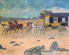 Travellers, Horse Drawn Carriage, Impressionist Oil Painting, Signed