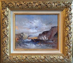 Boats at Sea, Nautical Impressionist Landscape, Signed Oil Painting
