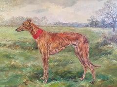 Whippet Dog Portrait 'Stoneden Hiawatha' Fine British Oil Painting, Signed