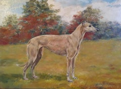 Whippet Dog Portrait 'Willeydon Harmony' Fine Impressionist Oil Painting, Signed