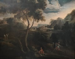 Arcadian Landscape with Figures, circa 1740. Large Old Master oil painting
