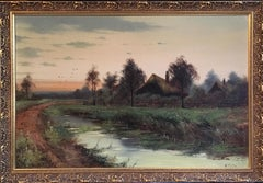 Rural Sunset Antique English Original Signed Oil Painting