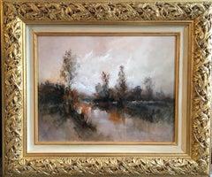 Still Lake at Sunrise, Impressionist Landscape, Signed Oil Painting