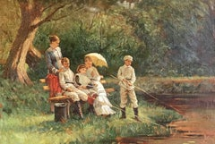 The Young Anglers, Fine Oil Painting on Canvas