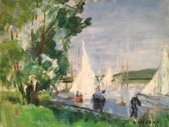 Impressionist Springtime Landscape, Nautical Sail Boats, Signed Oil Painting