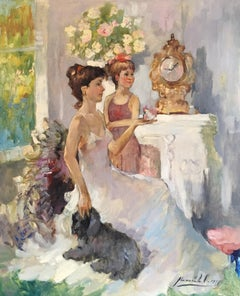 Impressionist Fine Portrait of a Mother and Daughter, Signed Oil Painting