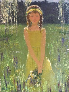 """""""Aito"""" Impressionist Portrait, Ethereal Green, Original Signed Oil Painting"""