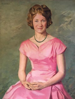 Fine Mid 20th Century Portrait, Female Model in Pink, Oil Painting