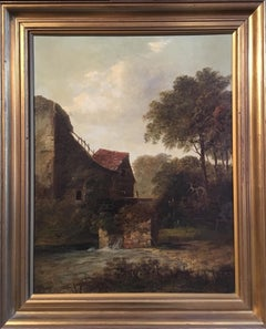 Water Mill, Fine Impressionist Landscape, Oil Painting, Signed