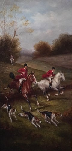 Fox Hunt Original Oil Painting (2), Impressionist Landscape, British, Signed