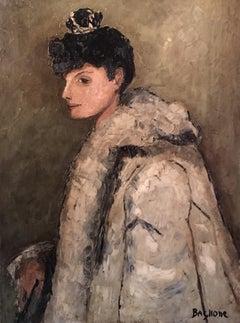 """Madame de...."" Impressionist Portrait, Fur Coat, Stylish Female Model, Signed"