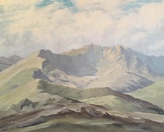 """Snowdon from Siabod"", Impressionist Landscape, Original Oil Painting, Signed"