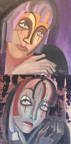 Abstract Portraits, Two Paintings as One, Purple Colour, Signed