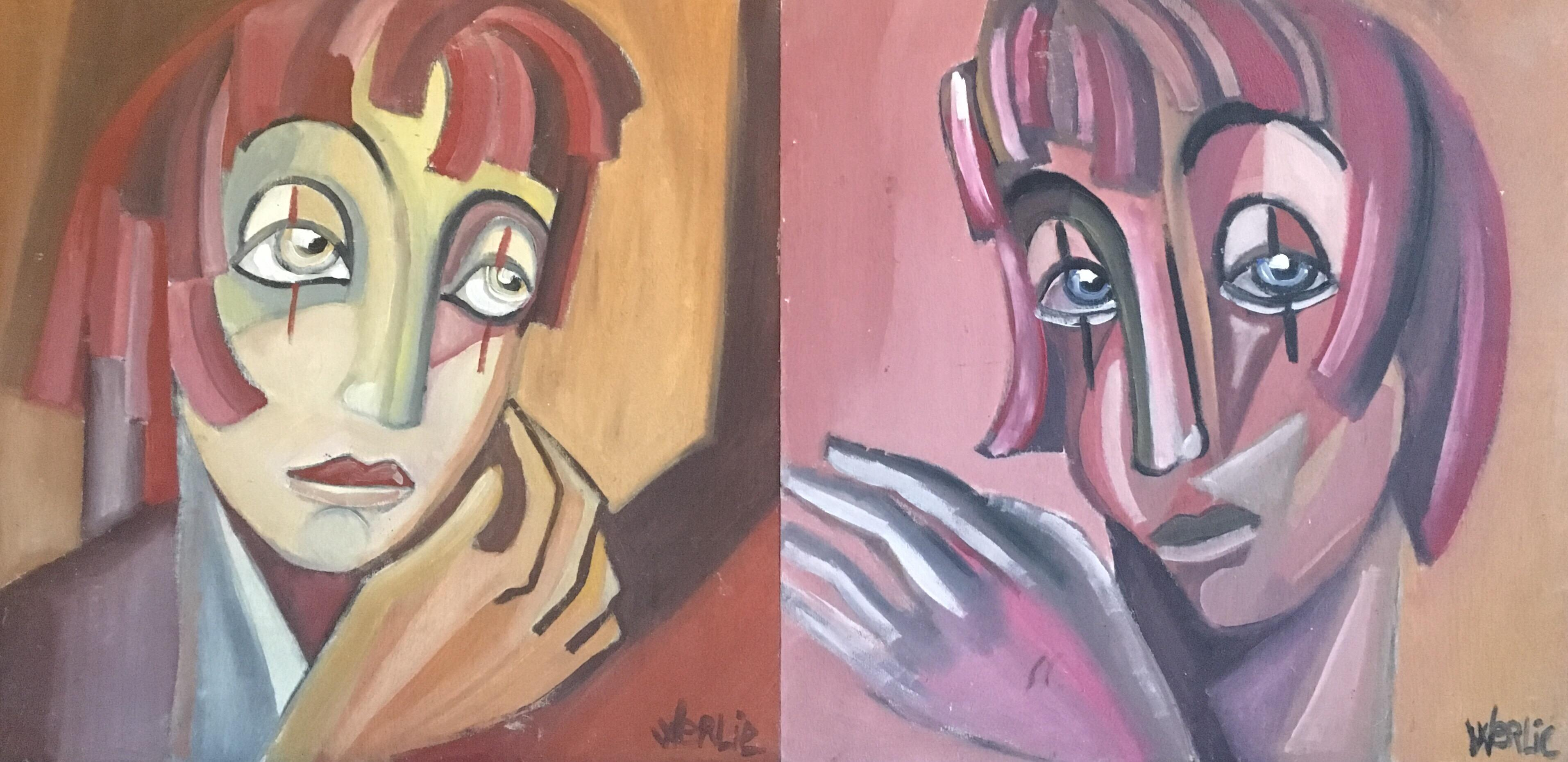 Abstract Portraits, Two Paintings Side by Side,