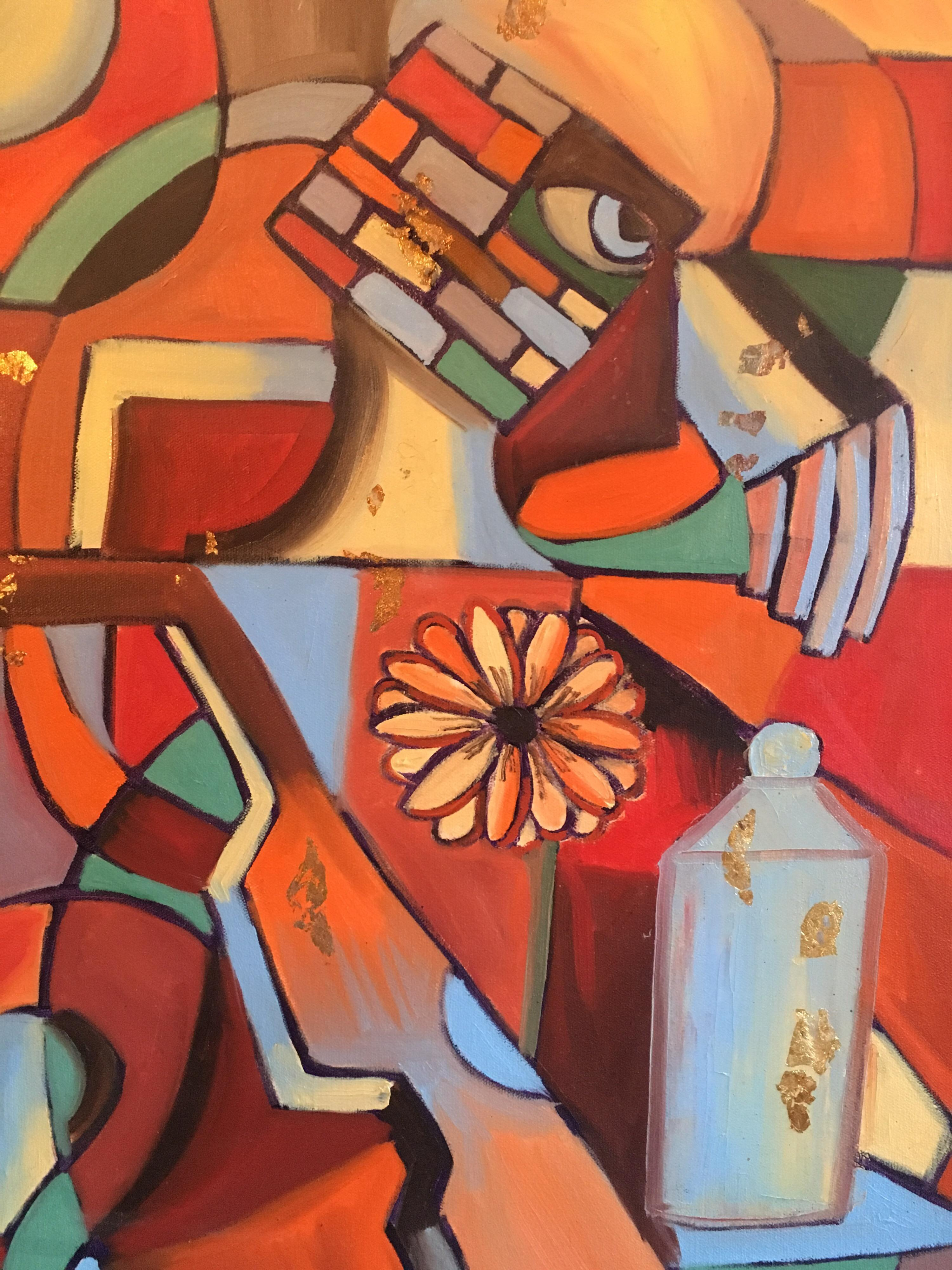 Large French Abstract, Picasso Style, Original Oil Painting, Signed