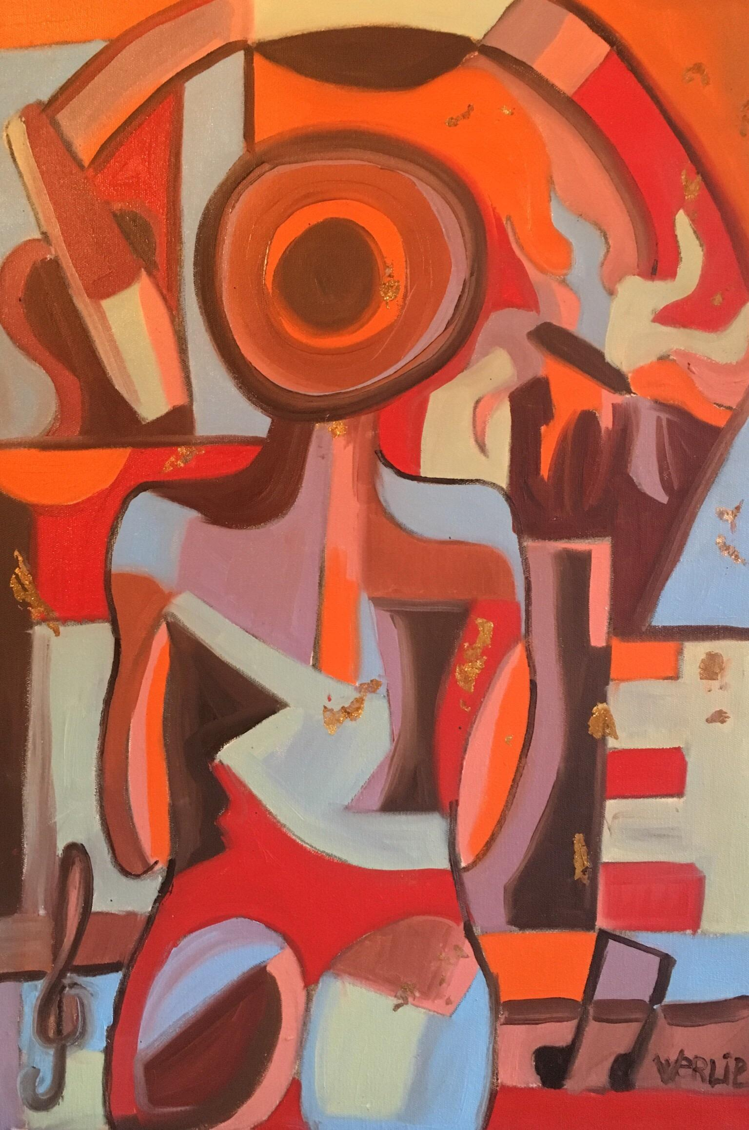 """""""Au Revoir"""", Large French Abstract, Original Oil Painting, Signed and Dated"""