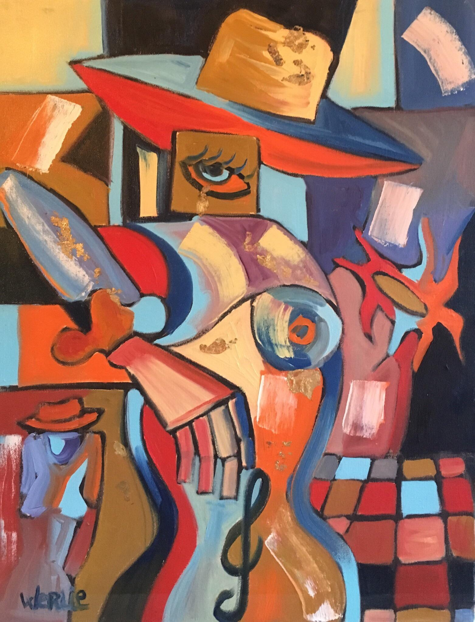 Large French Abstract, Picasso Style, Red Colour, Original Oil Painting, Signed