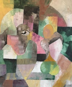 Cubist Style French Abstract, Multicoloured, Original Oil Painting