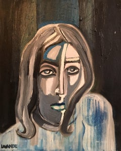 Dark Picasso Style Portrait, Cubist Abstract, Original Oil Painting, Signed