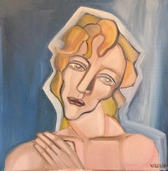 Stylish Portrait, Cubist Abstract, Original Oil Painting, Signed