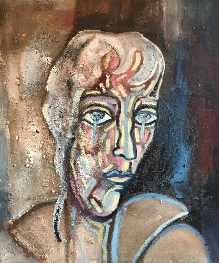 Abstract Portrait Dark Colours Picasso Style Original Oil Painting