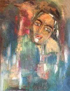 "Elegant French Portrait, ""Le Depart"" Large Size, Original Oil Painting, Signed"
