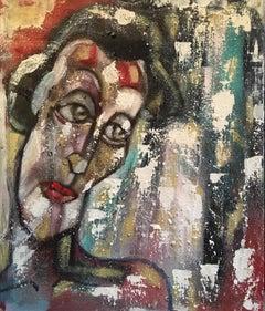 """Striking Portrait, Dark Colours, """"Un Jour de Pluie"""", Original Oil Painting"""