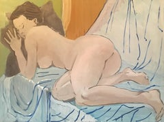 Large Impressionist Nude, Oil Painting, Light Green/Blue Colour