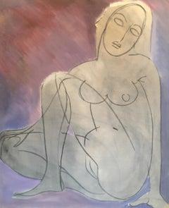 Large Nude Sketch, Oil Painting, Light Purple Colour