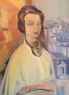 Stylish Impressionist Portrait, Female Model, Original Oil Painting