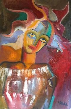 """Elegant French Portrait, """"A La Folie"""" Large Size, Original Oil Painting, Signed"""