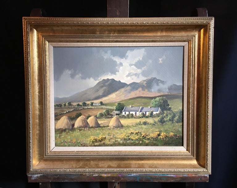 The Mournes Irish Mountains, County Down, Oil Painting Signed - Brown Landscape Painting by WH Burns