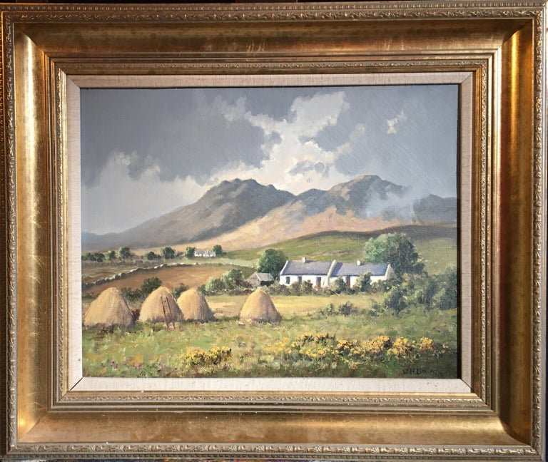 WH Burns Landscape Painting - The Mournes Irish Mountains, County Down, Oil Painting Signed