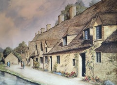 Arlington Row Bibury, Tranquil Cotswold Village, Signed and Dated Watercolour